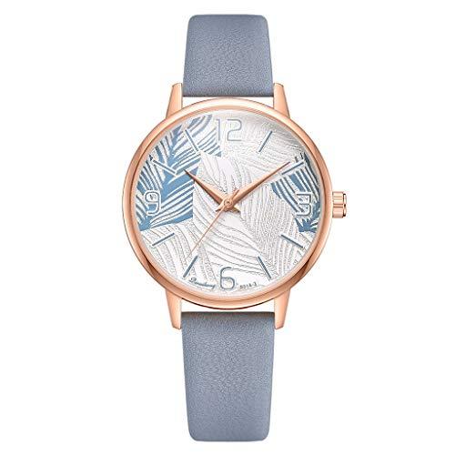Finedayqi Damen-Armbanduhr, modisch, digital, übertriebene Skala, Blatt-Zifferblatt, Gürtel a -