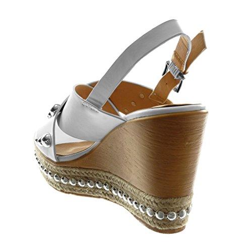 Angkorly Scarpe Moda Sandali Mules con Cinturino Alla Caviglia Zeppe Donna Perla Borchiati Legno Tacco Zeppa Piattaforma 10 cm Bianco