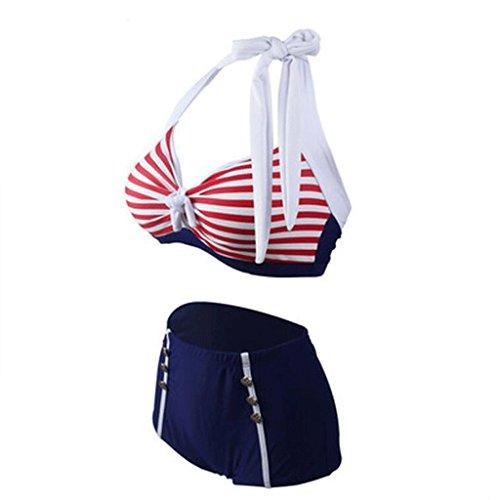 WTL Badeanzug Badeanzug Streifen Zwei Sets Von Bikini Badeanzug Pink