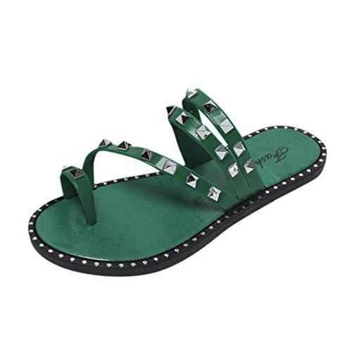 Rivet Keil Sandalen Damen,❤️Absolute Frauen Sommer Neue Strand Schuhe Nieten Plattform Hausschuhe Casual Slippers Bequeme Flip-Flops Mode Pantoletten Elegante Flache Clogs (EU:39/CN:40, Grün) (Keil-ballett-schuhe Für Frauen)