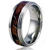 8 millimetri in acciaio inox Camo Legna Design dell'intarsio dell'anello di alta polacco w / Step Down Bordo