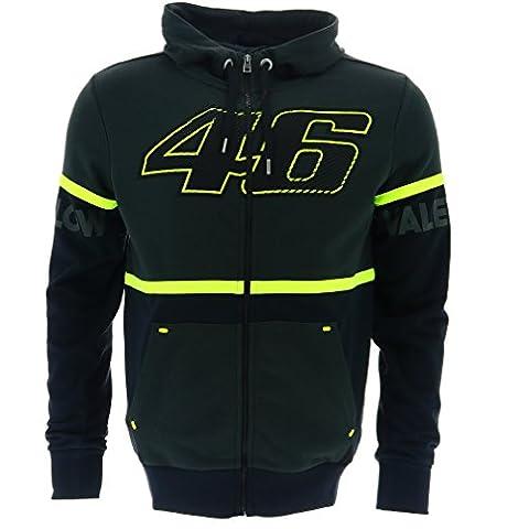 Valentino Rossi VR46 Moto GP Kapuzenpullover Vlies grau/schwarz Offiziell 2017 (Valentino Rossi Shop)