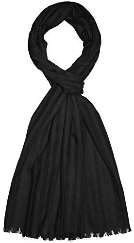 Lorenzo Cana Luxus Herren Schal aus feinster Baumwolle mit Seide aufwändig jacquard gewebte dezente Web Streifen Naturfaser Schaltuch Tuch schwarz black 55 cm x 180 cm - 8922711
