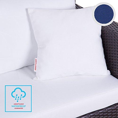 Arketicom Aladino das Kissen Outdoor Möbel Outdoor Stoff Wasserabweisend und abnehmbar, Innenraum in Perle von Polystyrol, Handwerk Italienisch 50X50 499 Blu Profondo