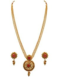 JFL - Traditional Ethnic One Gram Gold Plated Stones Designer Necklace Set For Women & Girls.