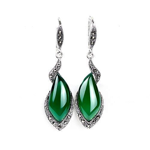 Frauen Vintage Thai Silber Granat Ohrringe, Grüne Chalcedon Edelstein Ohrschmuck,Green
