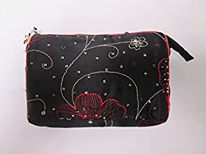 Ladies Black and Red Beaded Embroidered Tampon Sanitary Cosmetic Make Up Bag