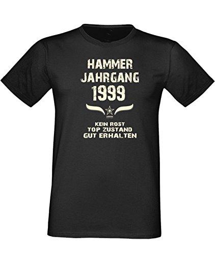 Sprüche Motiv Fun T-Shirt Geschenk zum 18. Geburtstag Hammer Jahrgang 1999 Farbe: schwarz blau rot grün braun auch in Übergrößen 3XL, 4XL, 5XL schwarz-01