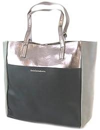 """Lulu Castagnette [N9831] - Sac pochette 2 en 1 """"Lulu Castagnette"""" gris noir - 44x35x9 cm"""