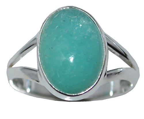 Anello in argento sterling 925con pietra preziosa naturale in amazzonite, argento, 52 (16.6), colore: blue-green, cod. r05g375amzn540st