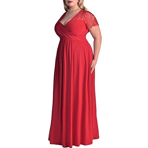 iShine Damen Spitze Splicing Große Größen Kleid Partykleider Cocktail Maxikleid V-Ausschnitt Halbarm Lange Abendkleid Übergröße Brautjungfer Hochzeitskleid Kurzarm Ballkleid Sommerkleid Rot