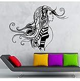 AELAHER Wandaufkleber Mädchen Friseursalon Home Decor Kopfhörer Musik Schönheitssalon Wandgemälde Friseursalon Aufkleber 70X56 cm