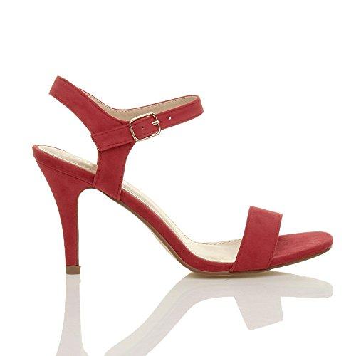Femmes haute talon boucle fête élégant à lanières sandales chaussures pointure Rouge Daim