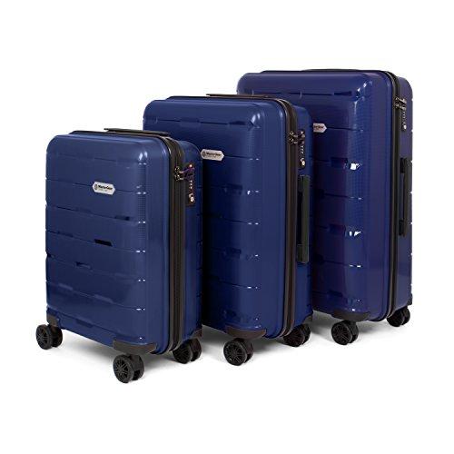 MasterGear Polypropylen Kofferset 3-teilig (S, M, L) in blau | Koffer Set mit 4 Rollen (360 Grad) | Trolley, Reisekoffer, TSA, stapelbar