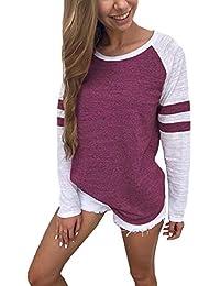 YOINS Pulli Damen Langarmshirt Sweatshirt mit Streifen Rundhals Ausschnitt Oversize Hemd Jumper Bluse Tops