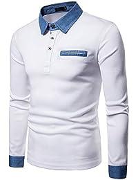 YCHENG Premium Polo Camisetas para Hombre Manga Cortas con Botón Contrast  Collar de Mezclilla c541eab062c34
