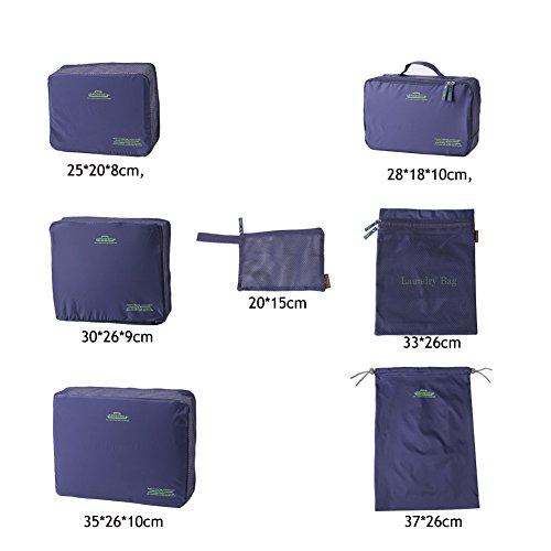 Kleidertasche Kofferorganizer, Dunkelblau, 7 Stueck