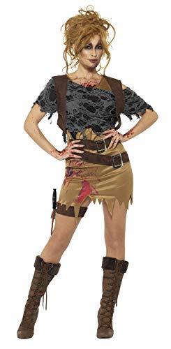 Smiffys Damen Deluxe Zombie Jägerin Kostüm, Kleid mit aufgemalter Weste, Oberteil, Dolch und Holster, Größe: 36-38, ()