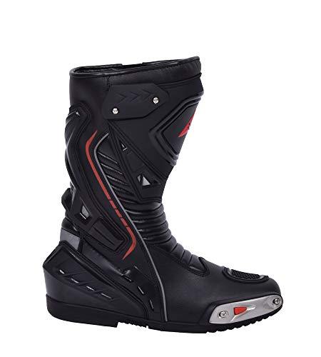 Bohmberg Premium Stivali da Moto, Stivali Sportivi in Pelle, Scarpe da Moto per Uomo, Pelle Idrorepellente e Robusta con Protezioni rigide Applicate - Nero - 45