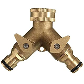 Kungfu Mall 3/4 Inch 2 Way Splitter Brass Water Hose Tap Quick Connector Garden Irrigation Tool Fitting