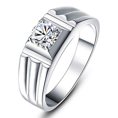 g-Verlobungsring für Herren mit simuliertem Moissanite-Diamant in platiniertem Sterlingsilber,P ()
