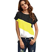 QinMM Mujer Redondo De La Túnica De Manga Corto Camisas Blusas Color Block T-Shirt
