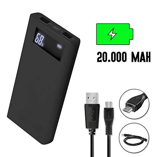 Tutiendastore Power Bank 20.000mAh batería Externa portátil con Salidas USB para móvil, Tablet y Ordenador