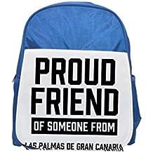 Fotomax Mochila infantil azul con estampado de Las Palmas de Gran Canaria, bonita mochila pequeña