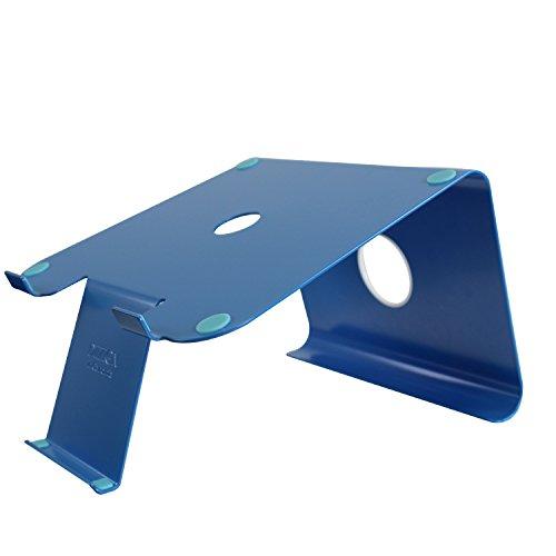 Preisvergleich Produktbild DiiZiGN Laptopständer Blau inkl. Smartphoneständer (Stahl). Schreibtisch Ständer für Notebook & Apple MacBook. Neuheit aus Den USA