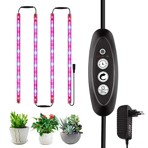 Roleadro Pflanzenlampe,LED Pflanzenlicht, 40W 80 LEDs Pflanzenleuchte Grow Lampe mit Intelligent Zeit Helligkeit Regulator für Aquarium Gewächshaus Hydroponik Innen Gemüse Blume Aussaat(4pcs)