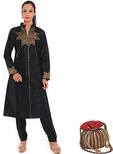 Geroo Solid Pure Raw Silk Black SuitEmbroidered With Zardozi & Sequins Work(Stitched) With silk potli bag and hand bag  available at amazon for Rs.5999
