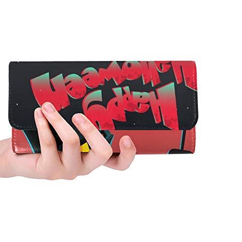 Einzigartige Karikatur-Geisterhaus-Halloween-Gruß-Karten-Frauen-dreifachgefaltete Mappen-Lange Geldbeutel-Kreditkarte-Halter-Fall-Handtasche
