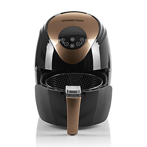 GOURMETmaxx Heißluft-Fritteuse Digital 2,5l 1500 Watt Fritteuse ohne Öl (1-4 Personen) (Schwarz/Kupfer)