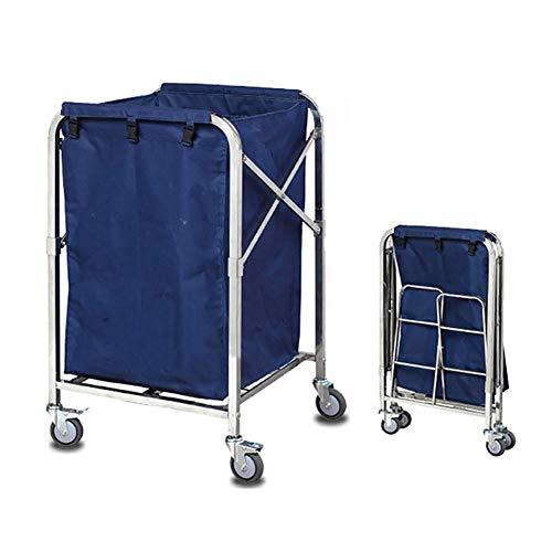 Salon Trolleys Trolley Blauer Zusammenklappbarer Wäschesortierwagen Reinigungsservice-Wagen Auf Rädern, Hochleistungs-Edelstahlrahmen, Abnehmbare Oxford-Stoffbeutel (Size : S-60x60x102cm)