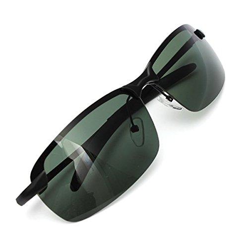 Cadre lunettes de soleil polarisŽes extŽrieure Vert foncŽ MŽtal Lunettes de soleil