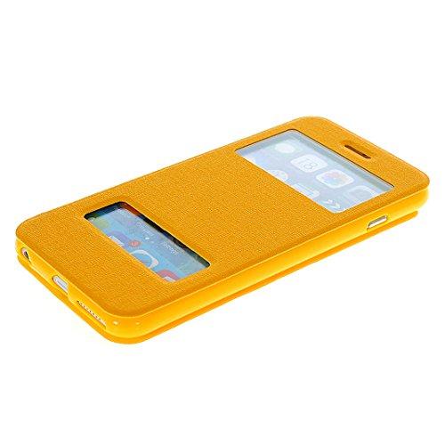 iPhone 6s Tasche Flip, Flip Case Hülle für iPhone 6 mit Sichtfenster (4.7 Zoll), Moon mood® PU Leder Flip Hülle für iPhone 6 / iPhone 6S mit Doppel Fenster Premium Bumper Backcover Handytasche Etui im Gelb