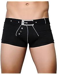 Homme Sexy Sous-Vêtements Homme Underwear Low Rise Boxer Underwear Boxers Hommes avec bouton - S M L XL - Blanc Noir