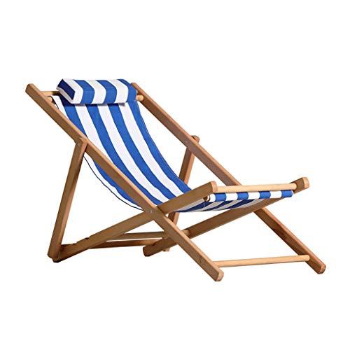 Lw outdoor Silla para Acampada Lado De Madera Plegable Silla De Playa De Madera Silla De Jardín Patio Tumbona Raya Azul Y Blanca (Color : A)