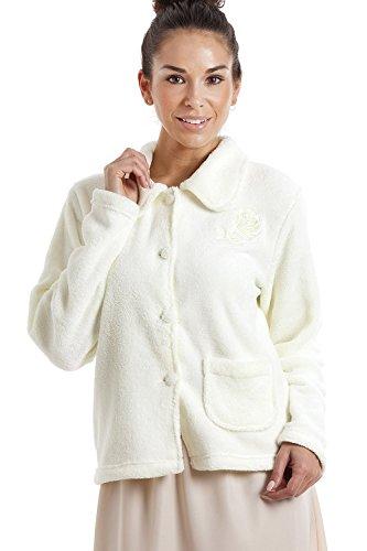 Veste de pyjama en polaire douce et chaude femme fermeture par boutons Ivoire 46/48
