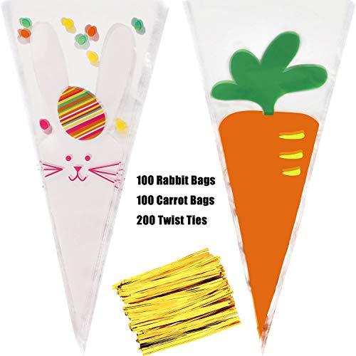 stern Kegel Taschen Osterhase Karotte Kegel Cellophan Taschen Ostern Süßigkeiten Taschen mit 200 Stück Twist Krawatten für die Osterparty ()