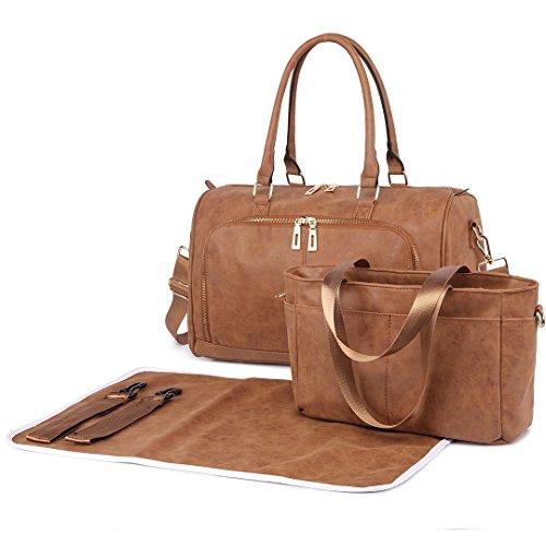 Miss LuLu 3 Stück Baby Windel Windel Wickeltasche Set mit Schnellen Handtasche PU-Leder (6638-BN)