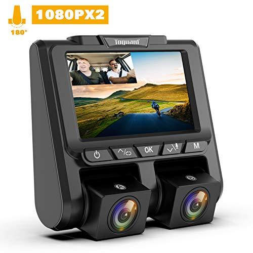 Cámara de Coche, TOGUARD Dashcam Full HD 1080P Dual Lens Cámara para Coche G-Sensor Detección de Movimiento Grabación en Bucle WDR