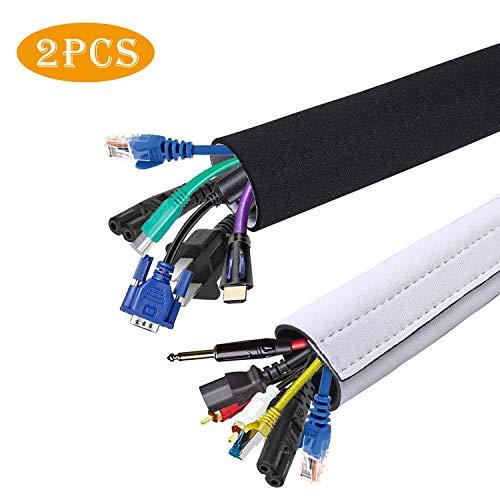 2 Pack Kabelmanagement,Heatigo Neopren Klettverschluss DIY Einfach zu bedienen und benutzerdefiniert Organizer für PC, Heimkino, Lautsprecher Home Entertainment Center (150cm/59In x 13.5cm/5.3In) -