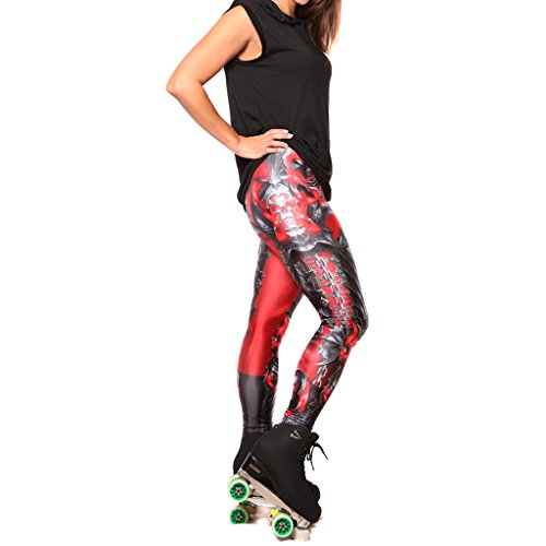 Jiayiqi Cool Femmes Héroïques Armour Imprimé Legging Collants Sexy Élastique Sans Pied No 1