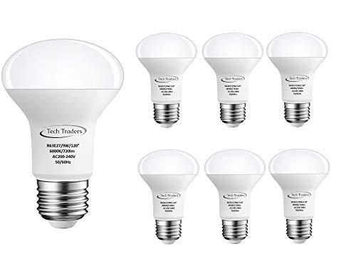 Tech Traders R63Reflektor LED Lampe Spot Strahler, Aluminium/Kunststoff, E27, 9W, kühles Weiß - 9w Cool White Spot