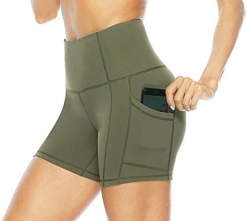 Persit Sporthose Damen Kurz Leggings mit Taschen - Sport Leggins Yogahose Yoga Leggings Olivengrün-XS