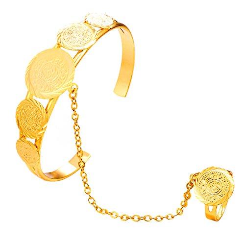Fengteng Gold Farbe Münze-Form Allah Armband Ring Islam Gott Allah Armreif Fingerring für Damen Religiöse Muslim Koran Amulett Ring Verstellbare Schmuck Geschenk