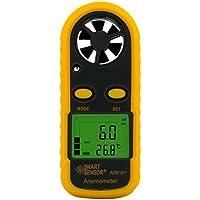 Yiruy SMART SENSOR AR816 + Elektronisches Anemometer Thermometer Digital Pocket Windgeschwindigkeitsanzeige Luftmassenmesser Windmesser