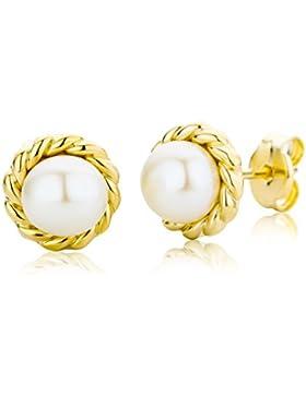 Miore Damen-Ohrstecker 9 Karat (375) Gelbgold Perlen