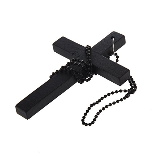 stige Kette Holz Kreuz Anhaenger Halskette Schwarz (Wulstige Kreuz Halskette)